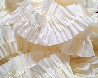 Ivory Ruffled Crepe Paper Streamers - 36 Feet - Party Supplies
