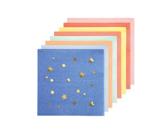 Jazzy Star Paper Napkins, Small, Assorted, Meri Meri Party Decor, Party Supplies, Tableware, Summer Party Theme