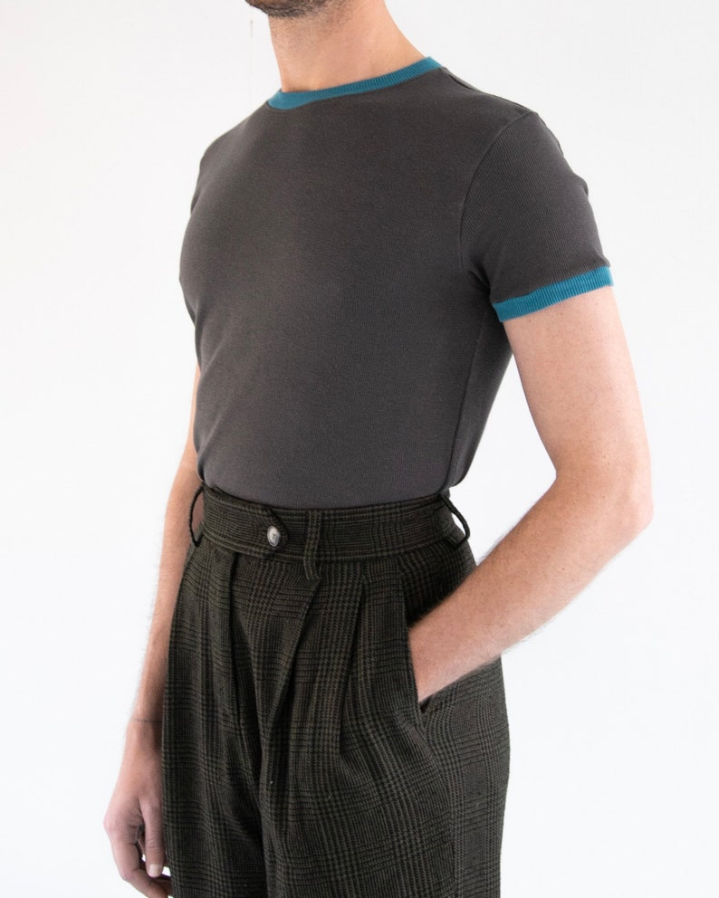 1960s Men's Clothing THE ANDY TEE | Men's Vintage Inspired Short Sleeve Waffle Knit T-shirt With Cuff Detail In Charcoal/Teal $35.00 AT vintagedancer.com