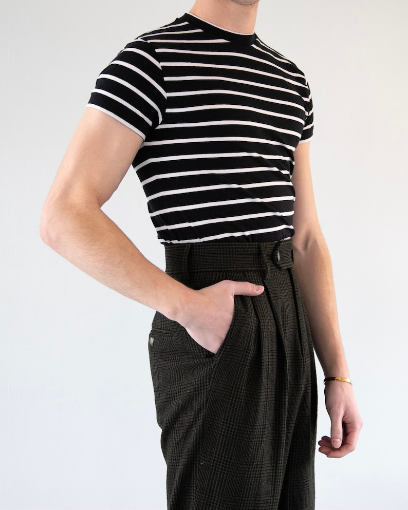 Mens Vintage Shirts – Casual, Dress, T-shirts, Polos THE BRANDO TEE | Men's Vintage Inspired Short Sleeve Striped T-shirt With Cap Sleeves In Black/White $35.00 AT vintagedancer.com