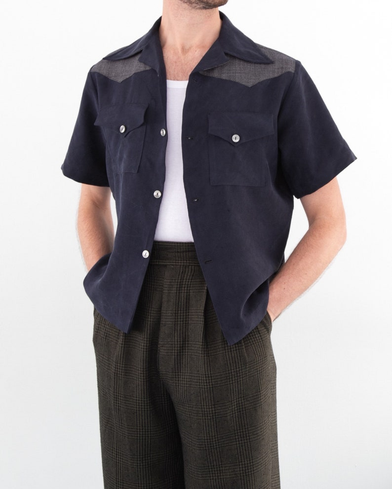 1950s Men's Clothing THE STANLEY SHIRT | Men's 1950's Inspired Short Sleeve Shirt With Pointed Yoke and Pocket Detail in Navy/Black/White $68.00 AT vintagedancer.com