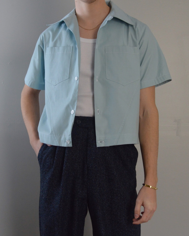 1950s Mens Shirts | Retro Bowling Shirts, Vintage Hawaiian Shirts THE TERRY SHIRT | Men's 1950's Inspired Shirt With Stitching Detail And Pockets In Mint $65.00 AT vintagedancer.com