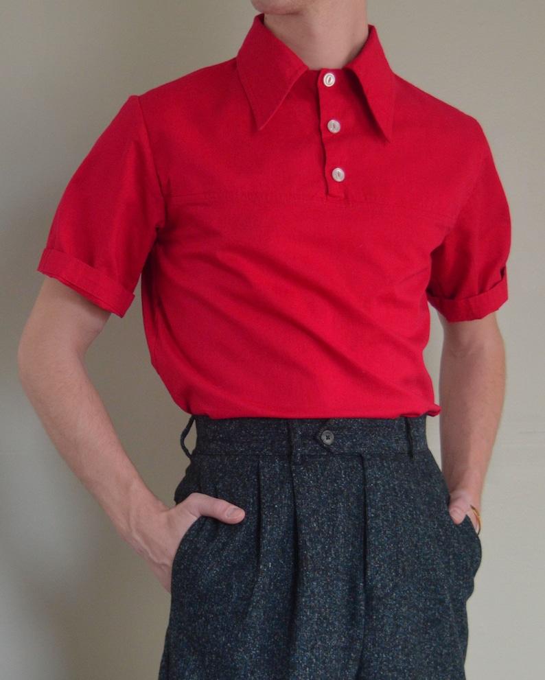 Mens Vintage Shirts – Casual, Dress, T-shirts, Polos THE JACK SHIRT | Men's 1940's Inspired Short Sleeve Yoke Front Shirt In Red $60.00 AT vintagedancer.com