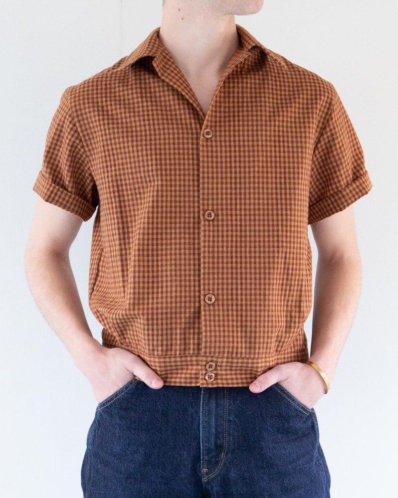 Mens Vintage Shirts – Casual, Dress, T-shirts, Polos THE EDDIE SHIRT | Men's 1950's Inspired Short Sleeve Shirt With Waistband In Warm Brown Check $65.00 AT vintagedancer.com