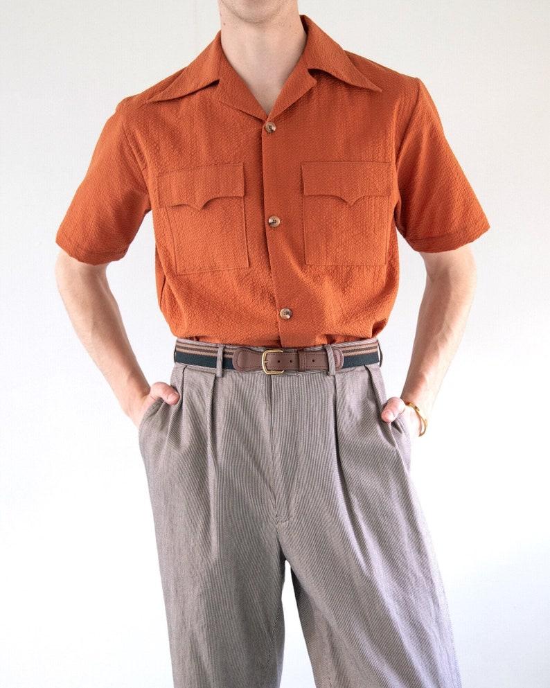 1940s Men's Shirts, Sweaters, Vests THE FRANK SHIRT | Men's 1940s Inspired Seersucker Shirt With Pocket Detail In Burnt Orange $68.00 AT vintagedancer.com