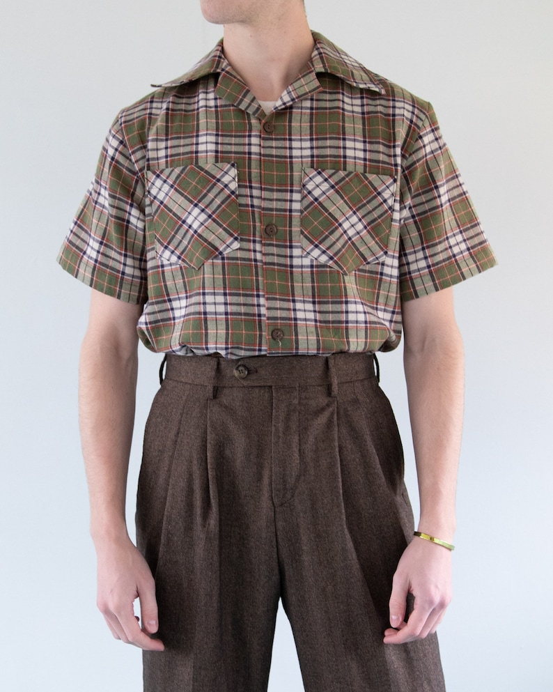 1950s Fabrics & Colors in Fashion THE WYATT SHIRT | Men's Late 1940s/Early 1950's Inspired Short Sleeve Shirt With Pockets in Olive Plaid $72.00 AT vintagedancer.com