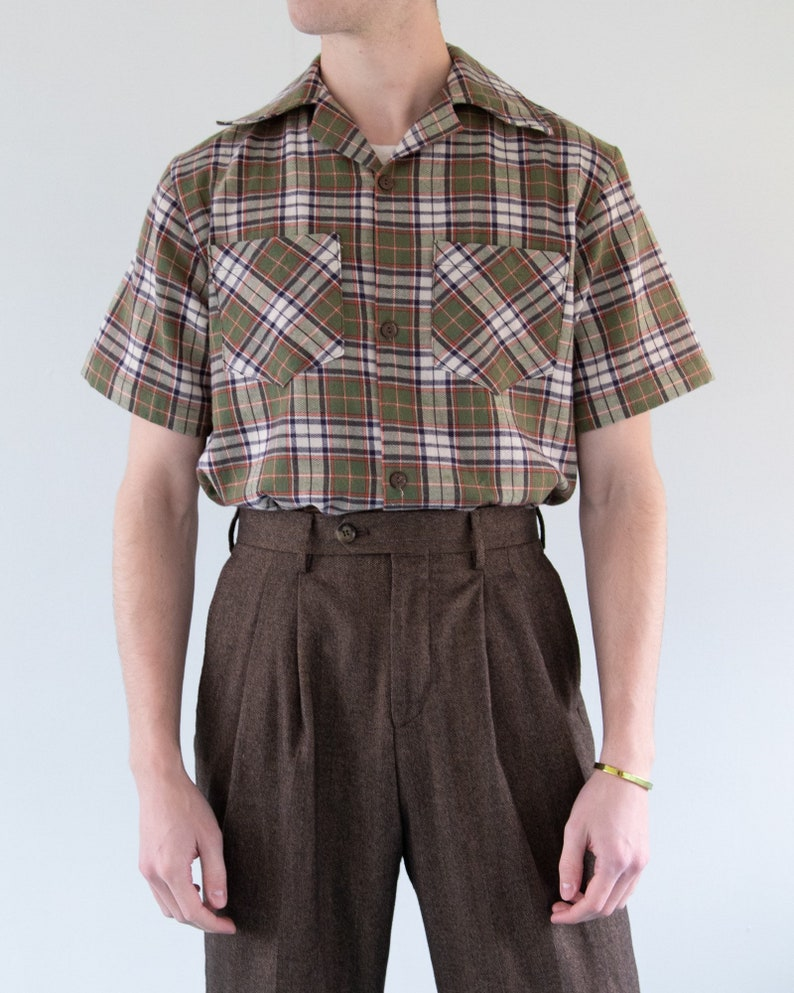 1950s Sewing Patterns | Dresses, Skirts, Tops, Mens THE WYATT SHIRT | Men's Late 1940s/Early 1950's Inspired Short Sleeve Shirt With Pockets in Olive Plaid $72.00 AT vintagedancer.com