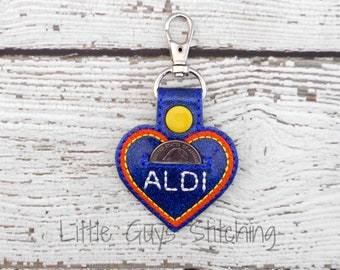ALDI Quarter Keeper Key Chain, Lover Aldi Quarter Holder Key Fob, Coin Holder Key Chain, Cart Key Chain, Gift For Her, Gift for Him,