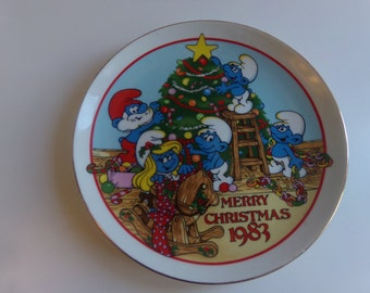 """Wallace Berrie The Smurfs /""""The Night Before Christmas/"""" Collector/'s Plate 1983"""