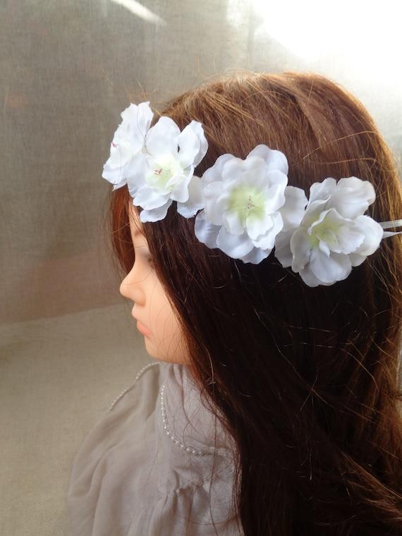 db68cab7145 White cherry blossom silk flower headband bridal head wreath