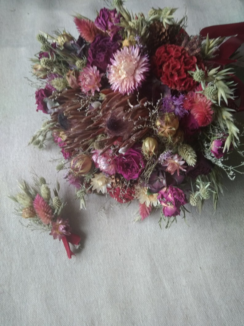 Dried Flower Wedding Bouquet Protea Flower Bouquet Rustic Etsy