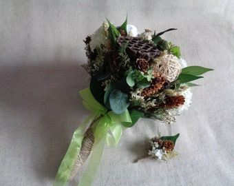 Rustic winter wedding bridal bouquet with boutonniere barn country woodland wedding bouquet  cottage wedding pine cone alternative bouquet