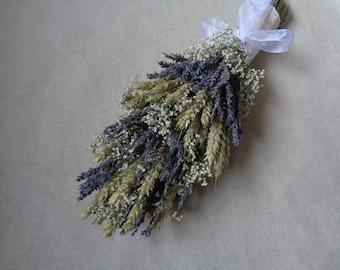 Dried lavender wheat gip medium long style bridal wedding bouquet  shabby chic bouquet  dried flower bouquet  country romantic  barn decor