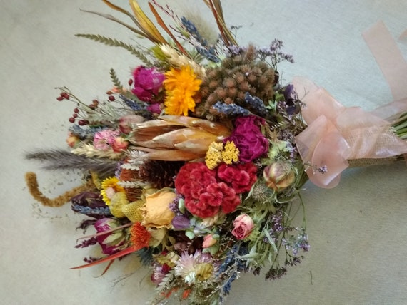 Woodland Dried Flower Wedding Bouquet Bridal Flower Bouquet Etsy