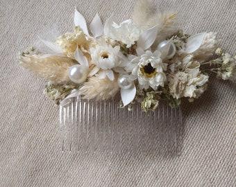 Wedding white , cream handmade hairpiece dry flower hair comb bridal accessories vintage style flower comb party hairpiece woodland wedding