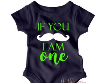 If You Mustache I Am One - Mustache Onesie - 1st Birthday Outfit - Birthday Shirt - Hipster Baby Clothes - Birthday Outfit