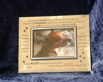 Dog Custom Laser Engraved Silver Frame
