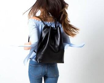 Leder Rucksack Schultertasche variabel schwarz
