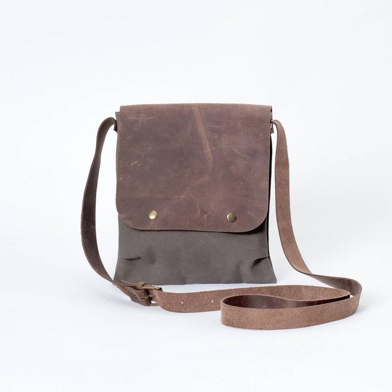 Khaki Small Canvas Messenger Shoulder iPad Bags For Men    026651ba62810