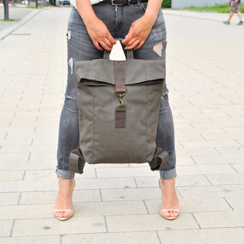 6b32e724d0eb37 Gray canvas Backpack with leather UNISEX mens bag women | Etsy
