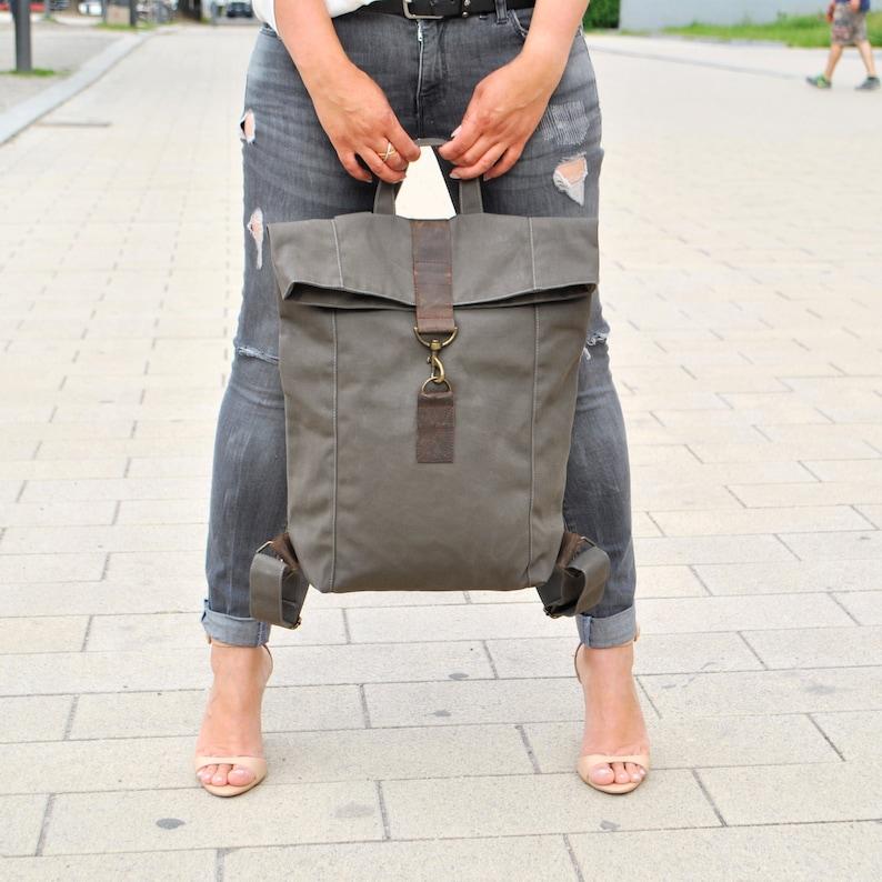 39ac8246569db Khaki Canvas Leder Rucksack wasserabweisend groß Damen