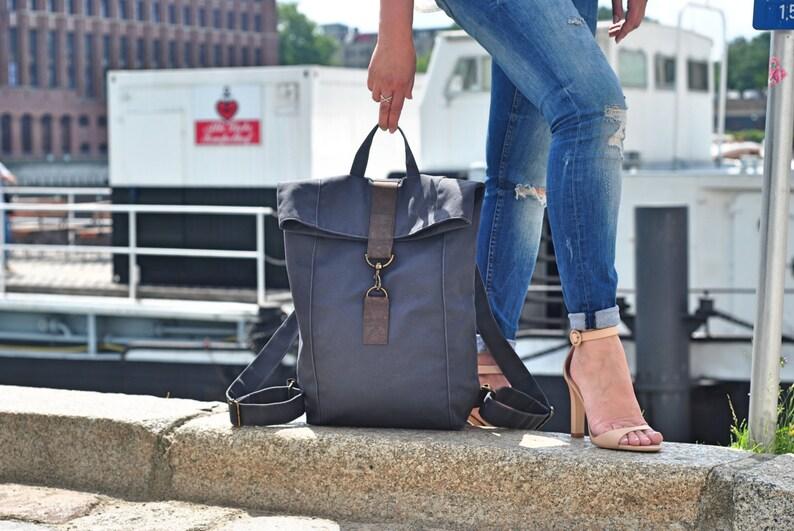 86ebe3e30d Dark gray canvas Backpack water resistant mens bag women