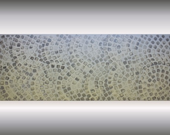 Abstract acrylic artwork on canvas, white silver painting