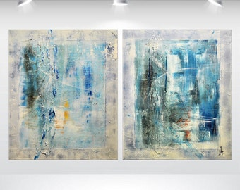 acrylic abstract painting large wall art canvas art original blue oversized ready to hang 40 x 24 stretched canvas art Ettis Gallery