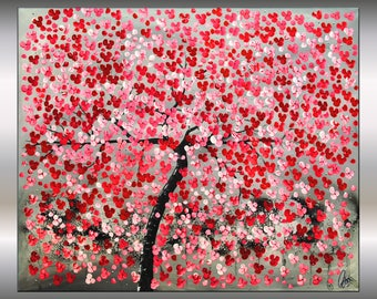 Acrylic Art Painting ,Red Cherry Blossoms, 48 x 40, Abstract Painting, Flowers, Canvas Wall Art, Stretched Canvas,Ettis Gallery