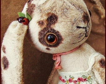"""by Alla Bears Beautiful 9"""" original artist Bunny collectible handmade Whimsical toy art doll ooak Vintage baby"""