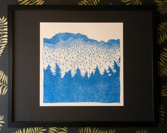 Forest illustration, nature art, abstract print, forestbound, drawing, lineart, square print,  A3, triangles, blue and white, risograph