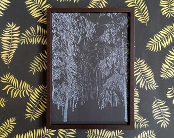 SALE! Forest print, nature drawing, black and white print, illustration, into the wild, risograph poster A3, nighttime, nocturnal