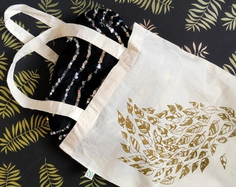 SALE! Tote bag, metallic gold print on eco unbleached cotton, drawing, illustration, textile print of feathers or leaves