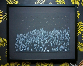 SALE! Nature print, winter forest drawing, nocturnal illustration, A3 risograph print, starry sky, metallic gold