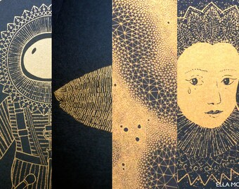 SALE BUNDLE of four, risograph prints, gold metallic illustrations on black, drawings, A3, nature and renaissance