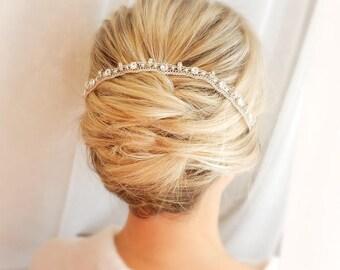 Crystal bridal headpiece wedding hair tiara  bridal hair accessories  rhinestone hair piece crystal vine bridal original headband crochet