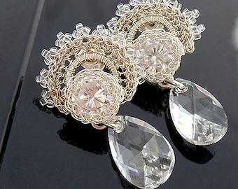 Swarovski crystal zircon bridal retro earrings, rhinestone vintage jewelry for bride, wedding dangle earrings, bridal unique jewelry, brout