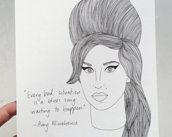 Drawing Winehouse Etsy