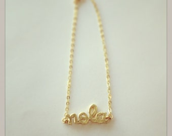 """Gold Plated """"NOLA"""" Charm Bracelet, with 1.8mm Flat Oval Cable Chain"""