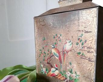Beautiful vintage exotic bird , Crawfords biscuit  tin.