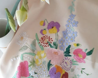 Charming, vintage hand embroidered panel, flowers in a bowl.