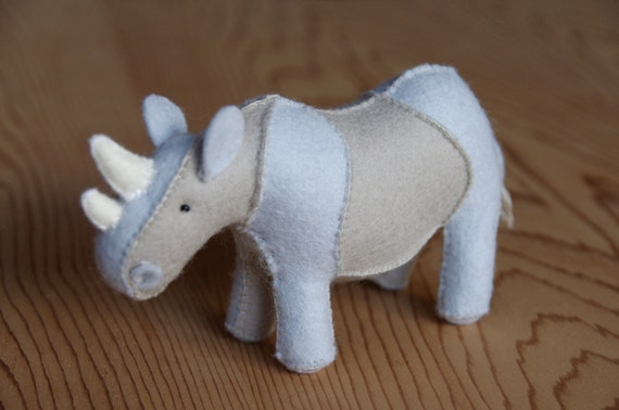 Felt Rhino Soft Toy Sewing Pattern PDF