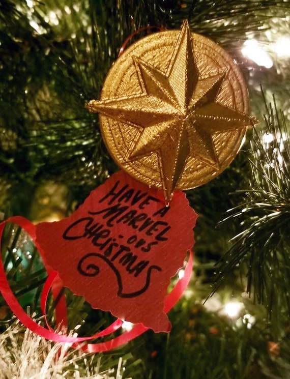 3d Printed Christmas Ornaments.3d Printed Christmas Ornament Captain Marvel Style Star With Handwritten Note