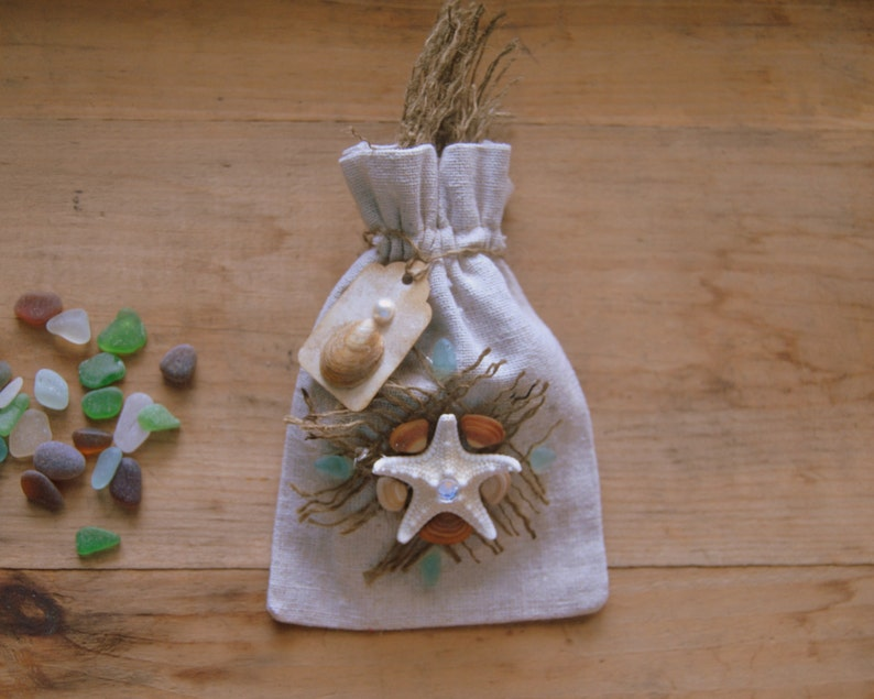 Muslin Drawstring Gift Or Favor Bags Embelished With Real Seashells And Authentic Natural Beach Glass
