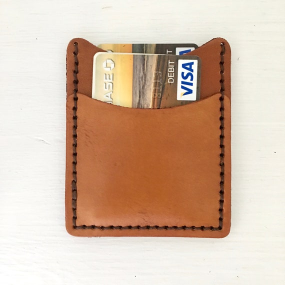 Slim Leather Wallet light brown thin mens womens leather card  96c2f10de