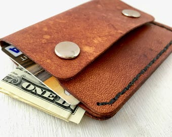 Minimal leather wallet with snaps - DAD - Slim minimalist wallet - 3rd anniversary gift - gift for him - mens leather wallet - Personalized
