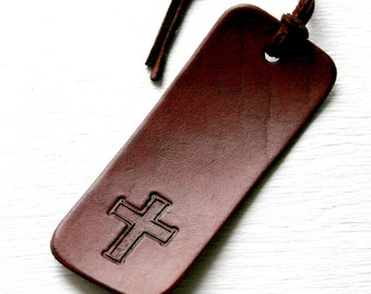 Bible bookmark - Cross or Praying hands with tassel - Leather cross bookmark - 3rd Anniversary Gift for Him or Her - Religious - Christian