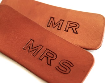Personalized Leather luggage tag or keychain for MR and MRS set - Wedding Bridal Shower Gift - Third Anniversary Gift for Wife or Husband