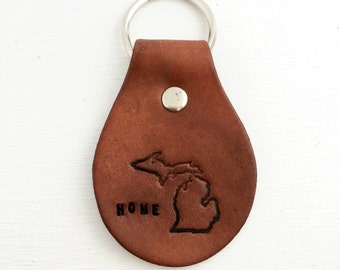 Leather Key Ring - Personalized Key Chain - Michigan Home State Key Fob - 3rd anniversary, Third anniversary gift for wife husband, keychain