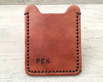 Leather money clip wallet with initials or name - 2 pocket personalized mens credit card case - Gift for him, dad, husband, boyfriend